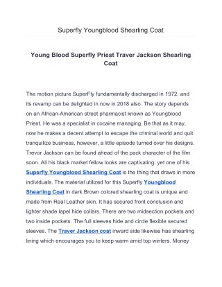 Superfly Trevor Jackson Young Blood Priest Trench Coat
