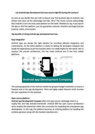 Can Android App Development Services ensure high ROI during this Century?