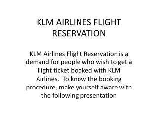 KLM Airlines flight reservation