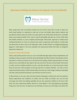 Importance of Visiting Top Dentist in San Diego for Your Overall Health