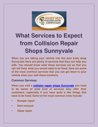 What Services to Expect from Collision Repair Shops Sunnyvale