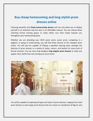 Buy cheap homecoming and long stylish prom dresses online