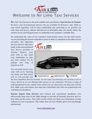 Pearson Airport Limo Services- Airlimotaxi.com