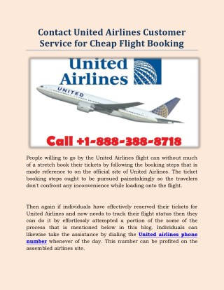 Contact United Airlines Customer Service for Cheap Flight Booking