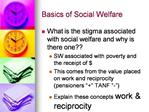 Basics of Social Welfare