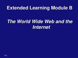 Extended Learning Module B The World Wide Web and the Internet