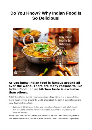 Do You Know? Why Indian Food Is So Delicious!