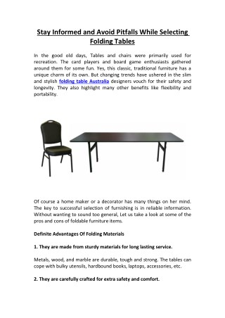 Stay Informed and Avoid Pitfalls While Selecting Folding Tables