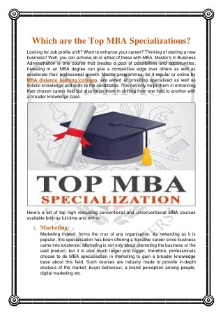 Which are the Top MBA Specializations?