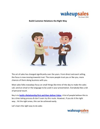 Build Customer Relations the Right Way