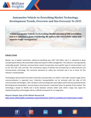 Automotive Vehicle-to-Everything Market Technology, Development Trends, Overview and Size Forecasts To 2025