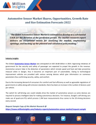 Automotive Sensor Market Shares, Opportunities, Growth Rate and Size Estimation Forecasts 2022