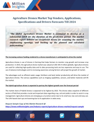 Agriculture Drones Market Top Vendors, Applications, Specifications and Drivers Forecasts Till 2024