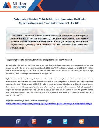 Automated Guided Vehicle Market Dynamics, Outlook, Specifications and Trends Forecasts Till 2024