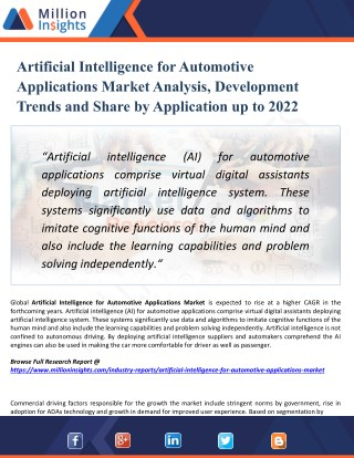 Artificial Intelligence for Automotive Applications Market Trends, Overview and Market Consumption Forecast to 2022