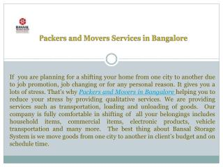 Packers and Movers Services in Bangalore