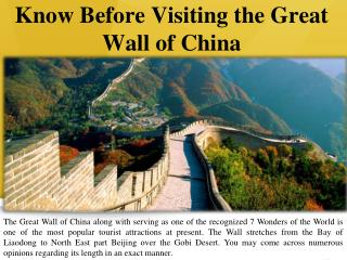 Know Before Visiting the Great Wall of China