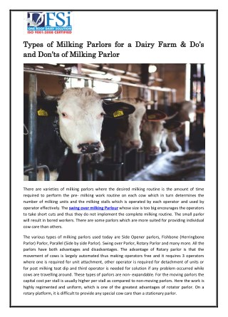 Types of Milking Parlors for a Dairy Farm & Do's and Don'ts of Milking Parlor