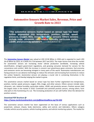 Automotive Sensors Market Sales, Revenue, Price and Growth Rate to 2023