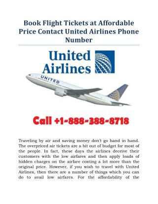Book Flight Tickets at Affordable Price Contact United Airlines
