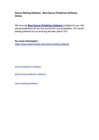 Soccer Betting Software - Best Soccer Prediction Software Online