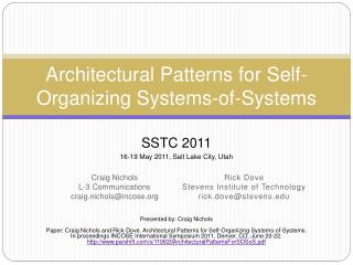 Architectural Patterns for Self-Organizing Systems-of-Systems