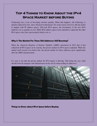 Top 4 Things to Know About the IPv4 Space Market before Buying