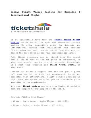 Online Flight Ticket Booking for Domestic & International Flight