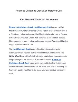 Return to Christmas Creek Kari Matchett Coat