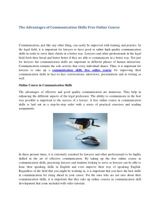 The Advantages of Communication Skills Free Online Course