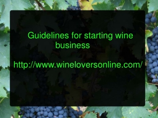Guideliness for Starting Wine Business