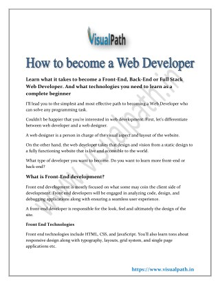 How to become a web developer | Full stack training