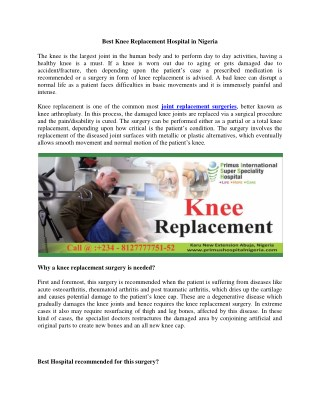 Best Knee Replacement Hospital in Nigeria