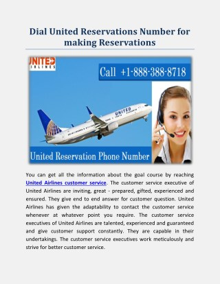 Dial United Reservations Phone Number for making Reservations