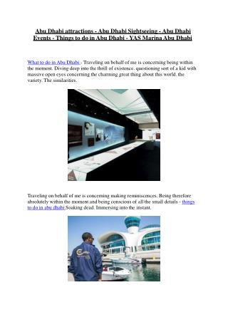 Abu Dhabi attractions - Abu Dhabi Sightseeing - Abu Dhabi Events - Things to do in Abu Dhabi - YAS Marina Abu Dhabi