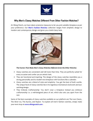 Why Men's Classy Watches Different From Other Fashion Watches?