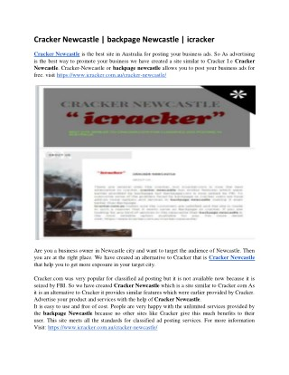 Cracker Newcastle | backpage Newcastle | icracker
