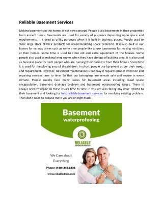 Reliable Basement Services