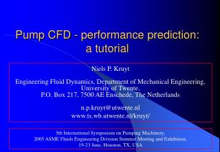 Pump CFD - performance prediction:  a tutorial