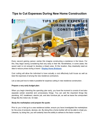 Tips to Cut Expenses During New Home Construction