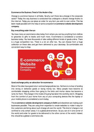 Ecommerce the Business Trend of the Modern Day