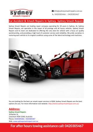Car Accident & Smash Repairs In Sydney- Sydney Smash Repairs