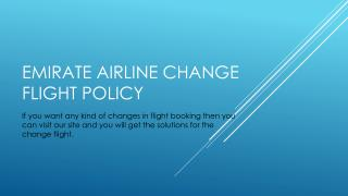 Emirates Airline Change Flight Reservation