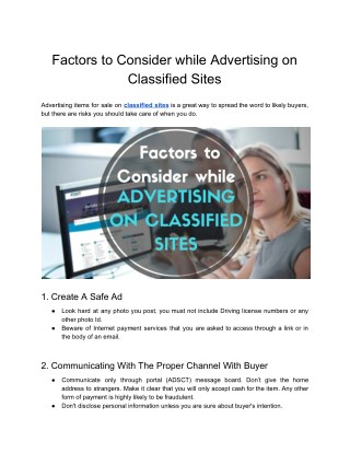 Factors to Consider while Advertising on Classified Sites