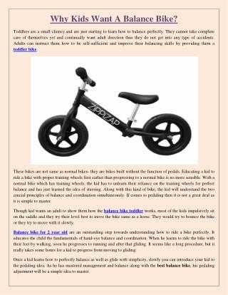 Why Kids Want A Balance Bike