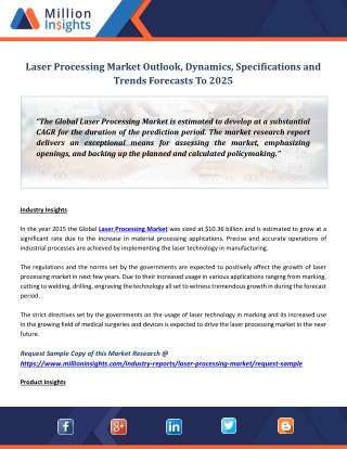 Laser Processing Market Outlook, Dynamics, Specifications and Trends Forecasts To 2025