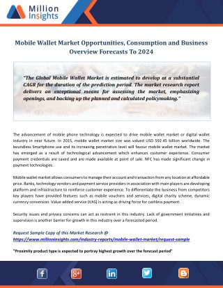 Mobile Wallet Market Opportunities, Consumption and Business Overview Forecasts To 2024
