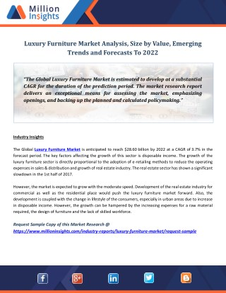 Luxury Furniture Market Analysis, Size by Value, Emerging Trends and Forecasts To 2022
