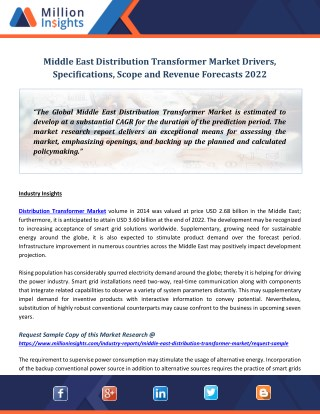 Middle East Distribution Transformer Market Drivers, Specifications, Scope and Revenue Forecasts 202