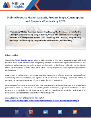 Mobile Robotics Market Analysis, Product Scope, Consumption and Dynamics Forecasts by 2020